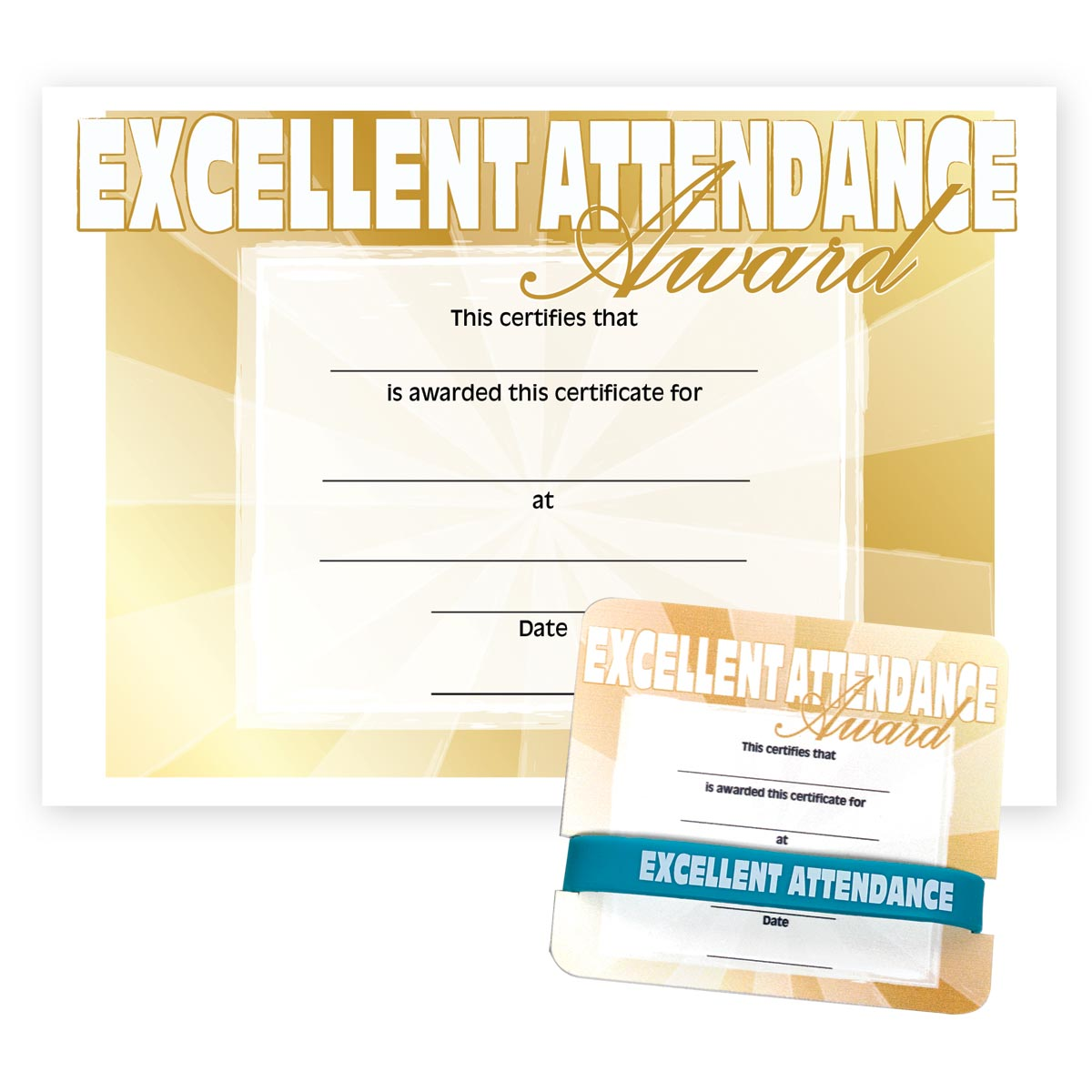 Certificates for elementary andersons wristbandmini certificate award set excellent attendance 1betcityfo Choice Image