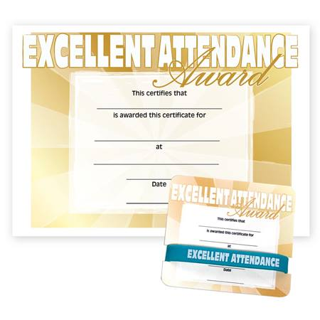 Wristband/Mini Certificate Award Set - Excellent Attendance