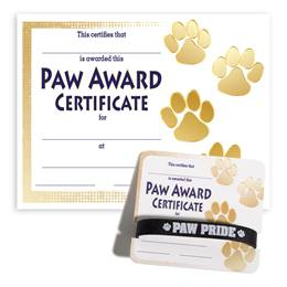 Wristband/Mini Certificate Award Set - Gold Paw