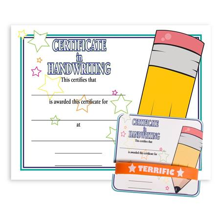 Wristband/Mini Certificate Award Set - Handwriting