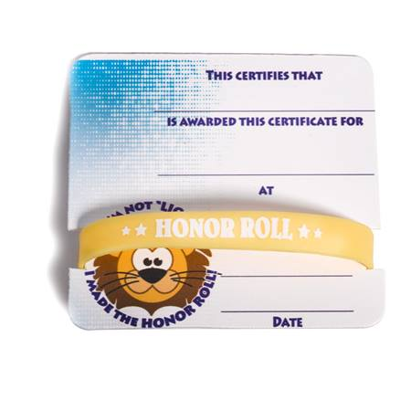 Mini Certificate/Wristband Set - Honor Roll/Lion