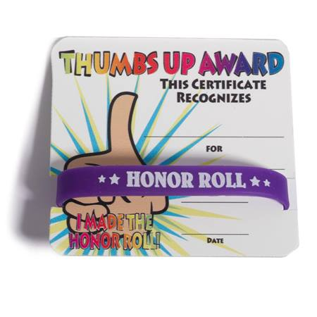 Mini Certificate/Wristband Set - Honor Roll/Thumbs Up