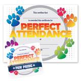 Wristband/Mini Certificate Award Set - Perfect Attendance Paw
