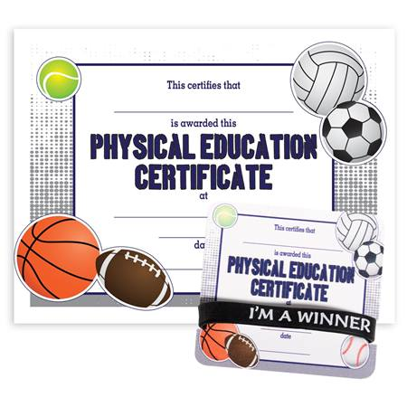 Wristband/Mini Certificate Award Set - Physical Education