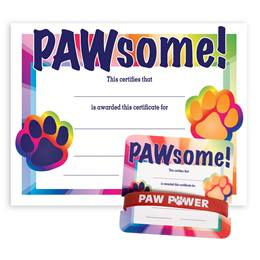 Wristband/Mini Certificate Award Set - Pawsome