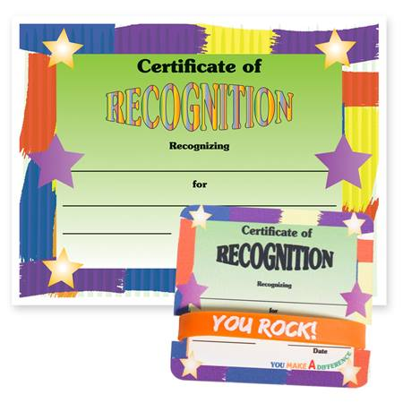 Wristband/Mini Certificate Award Set - Recognition