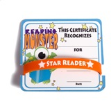 Mini Certificate/Wristband Set - Reading Monster