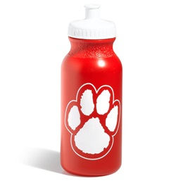 Paw Water Bottle - Red/White
