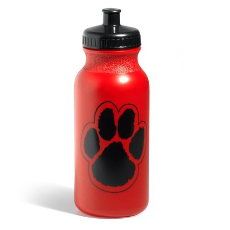 Paw Water Bottle - Red/Black