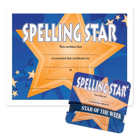 Wristband/Mini Certificate Award Set - Spelling Star