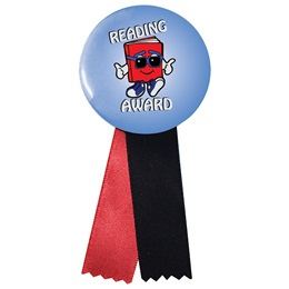 Button With Ribbon - Book Guy Reading Award