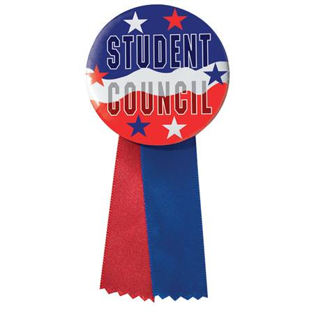 Button With Ribbon - Red, White, and Blue Student Council