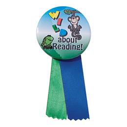 Button With Ribbon - Wild About Reading