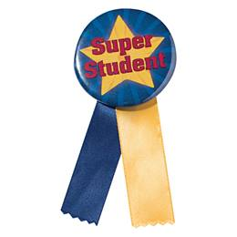 Button With Ribbon - Super Student Star