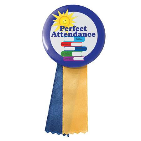Button With Ribbon - Perfect Attendance