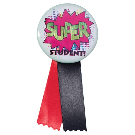 Button With Ribbon - Super Student