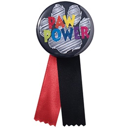 Button With Ribbon - Paw Power Chalkboard