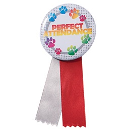 Button With Ribbon - Paw Perfect Attendance