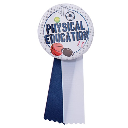 Button With Ribbon - Physical Education