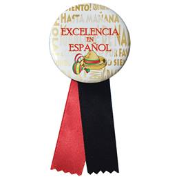 Button With Ribbon - Excellence in Spanish