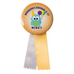Button With Ribbon - Birthday Owl