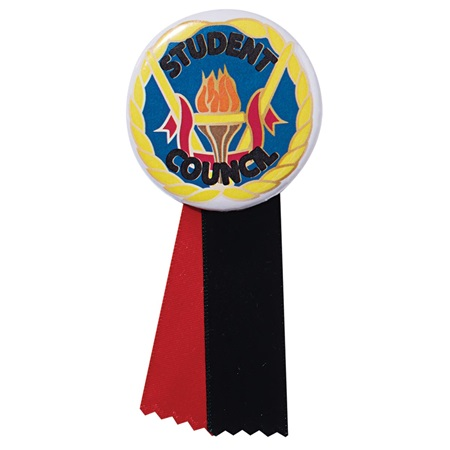 Button With Ribbon - Student Council Torch