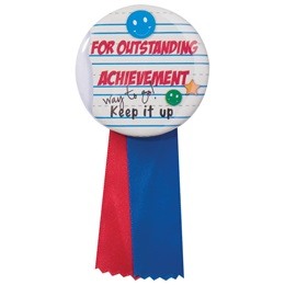 Button With Ribbon - Outstanding Achievement