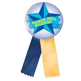 Button With Ribbon - Honor Roll Student/Blue Star