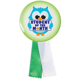 Button With Ribbon - Student of the Month Owl