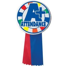 Button With Ribbon - A+ Attendance