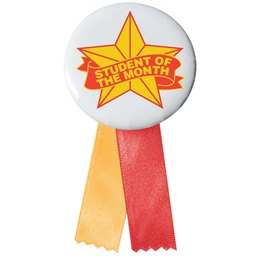 Stock Button With Ribbon - Orange Stars Student of the Month