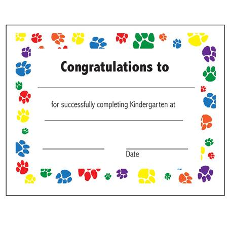 Kindergarten completion certificate anderson 39 s for Pre k award certificate templates