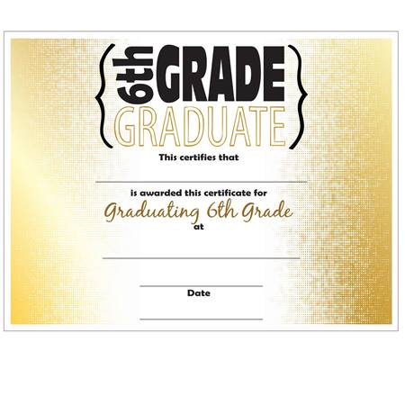 6Th Grade Graduation Certificates | Anderson'S