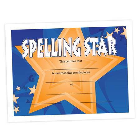 Full-color Spelling Certificate