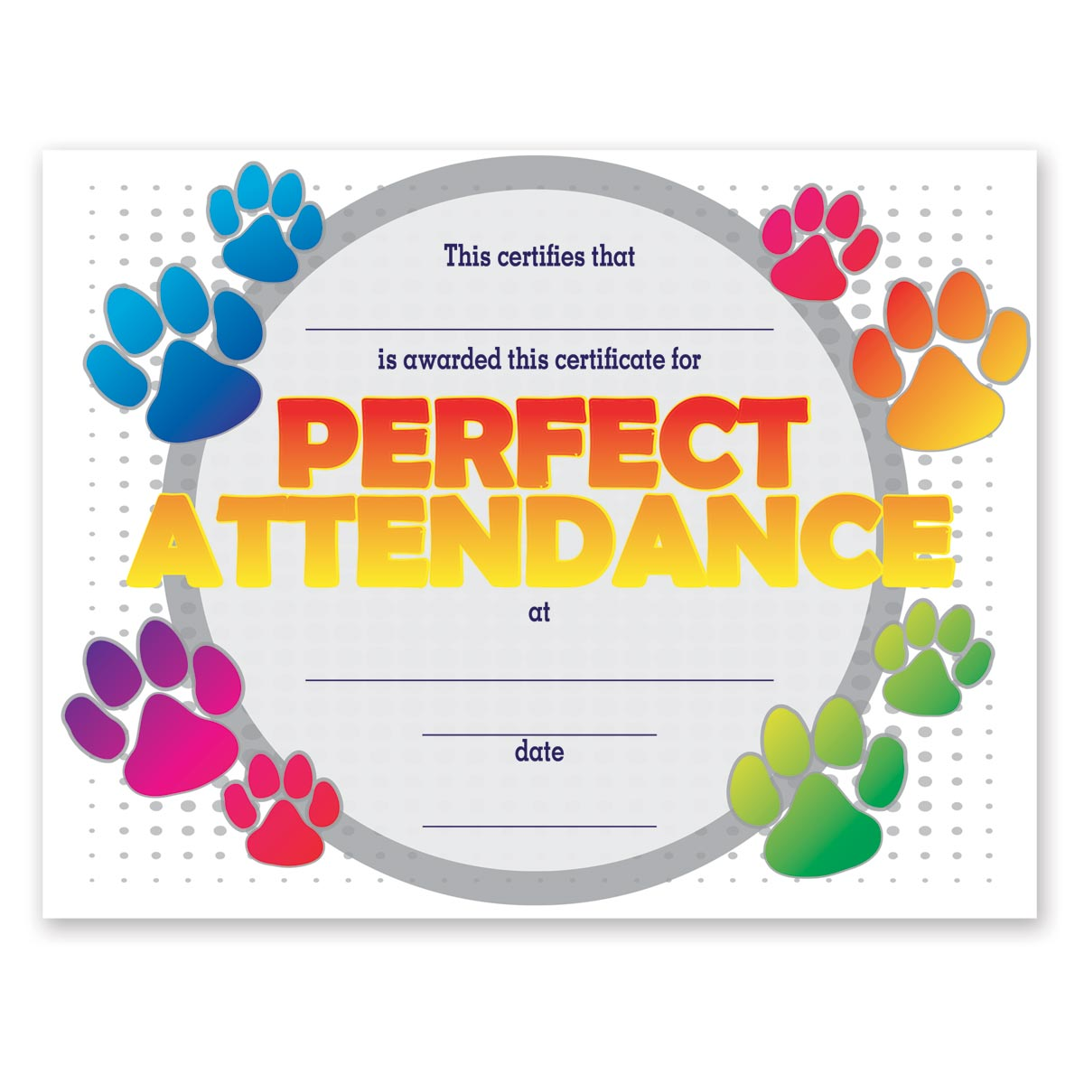 Full-color Perfect Attendance Certificate   Anderson's