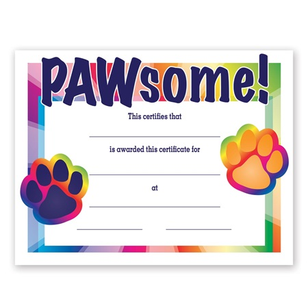 Full-color Pawsome Certificate