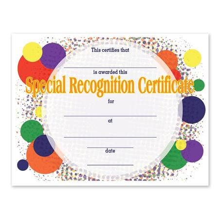 Full-color Special Recognition Certificate