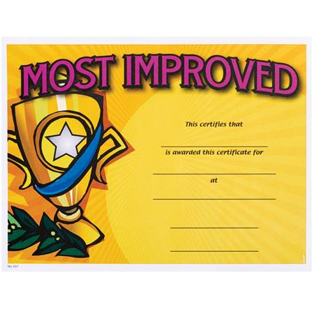 Full-color Most Improved Certificates