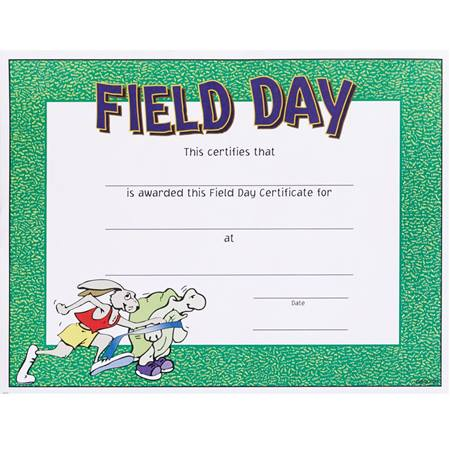 Full-color Field Day Certificates