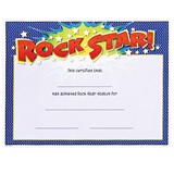 Full-color Rock Star Certificates