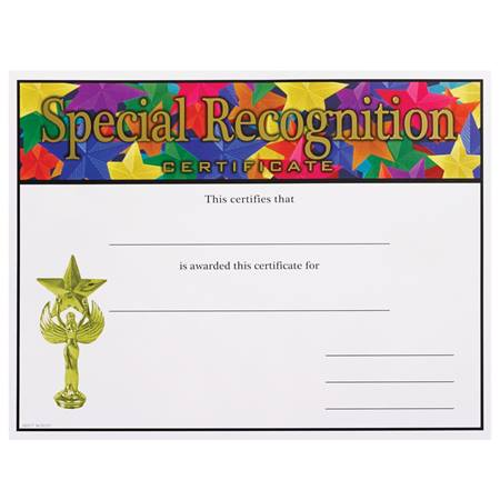 Full-color Special Recognition Certificates