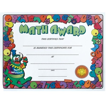 Math Award Certificates