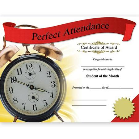 Photo Certificates - Perfect Attendance