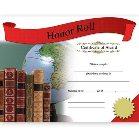 Photo Certificates - Honor Roll