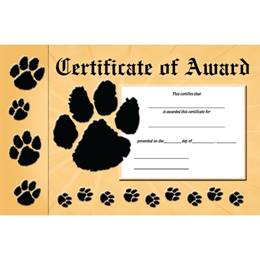 Bookmark Certificate - Paw Award