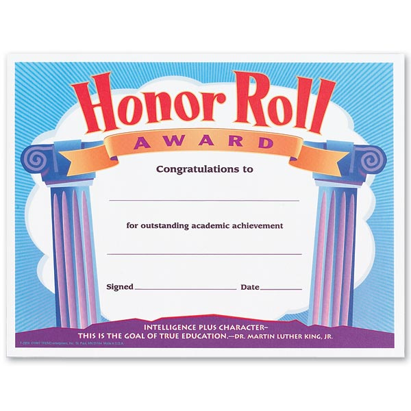 Honor Roll Certificates   Anderson's