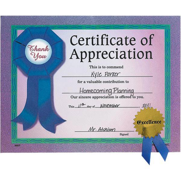 Gold Seal Certificate - Appreciation Ribbon | Anderson\'s