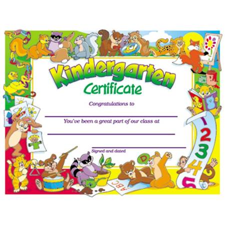 Kindergarten Certificate - Animals