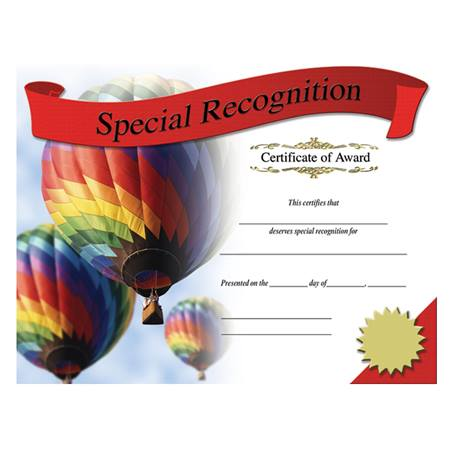 Pick-a-Set - Special Recognition Certificate
