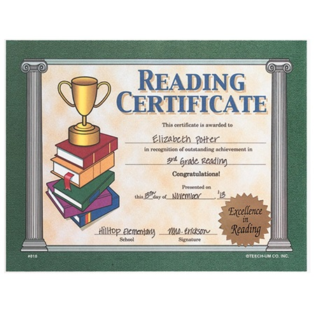 Large Reading Certificate With Gold Seal